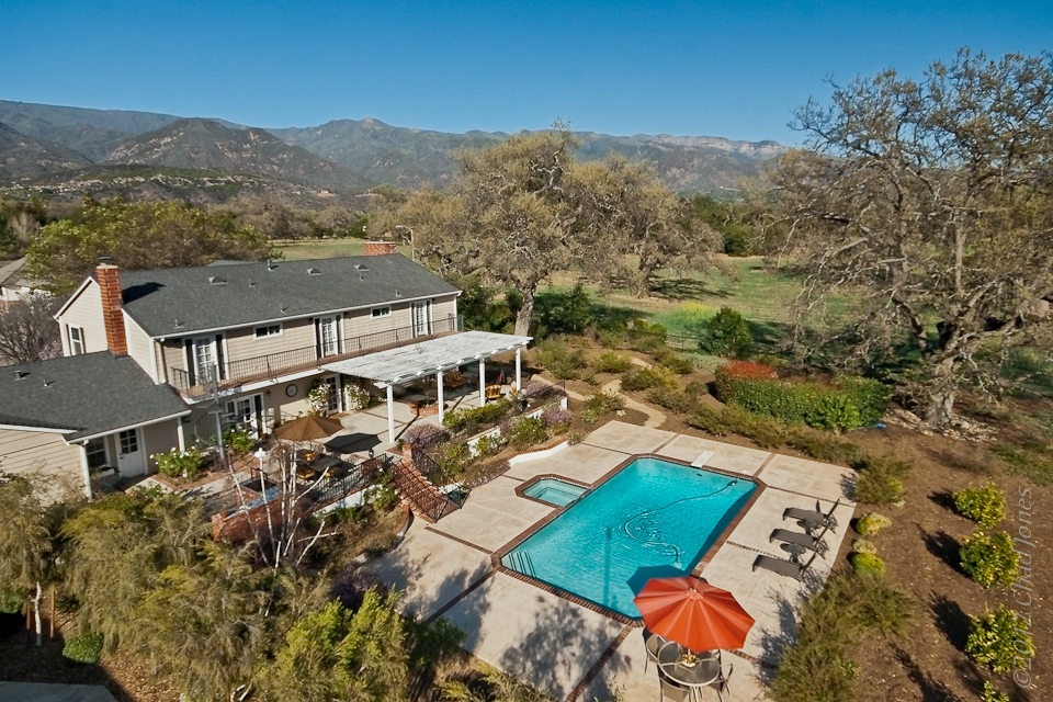 Ojai Country Estate Aerial View with Topa Topa Mountain Views