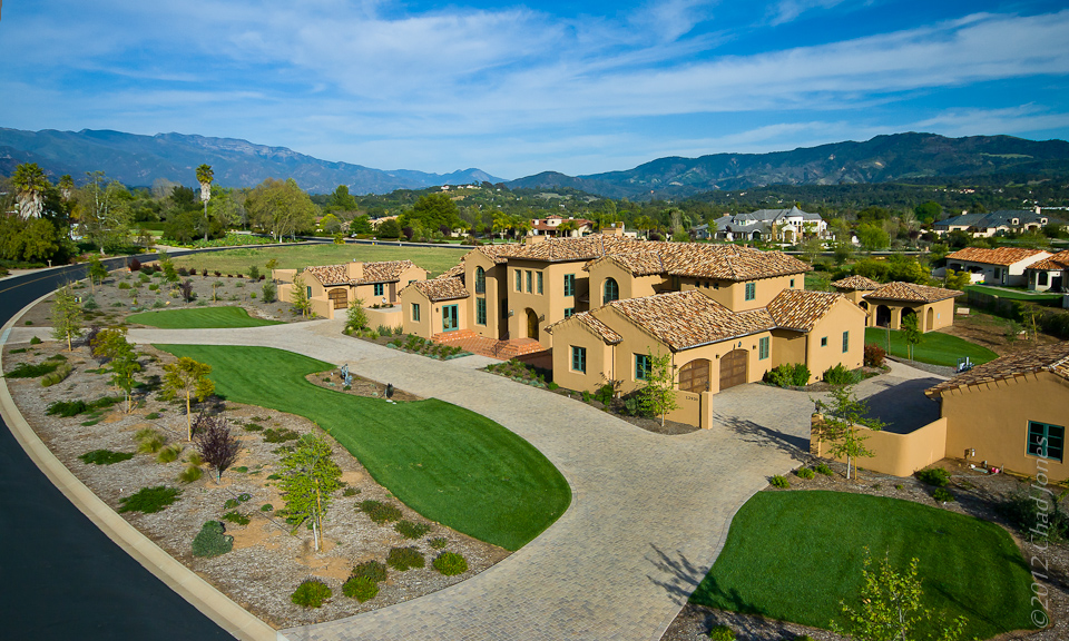 Rancho Matilija Mediterranean Estate Aerial in Ojai CA