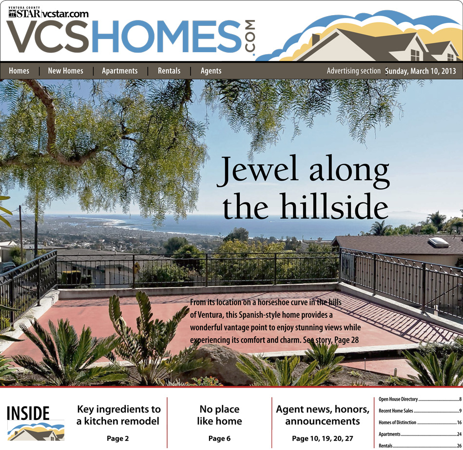 Cover of a Ventura Hillside Home Featured in the Ventura County Star | March 10, 2013