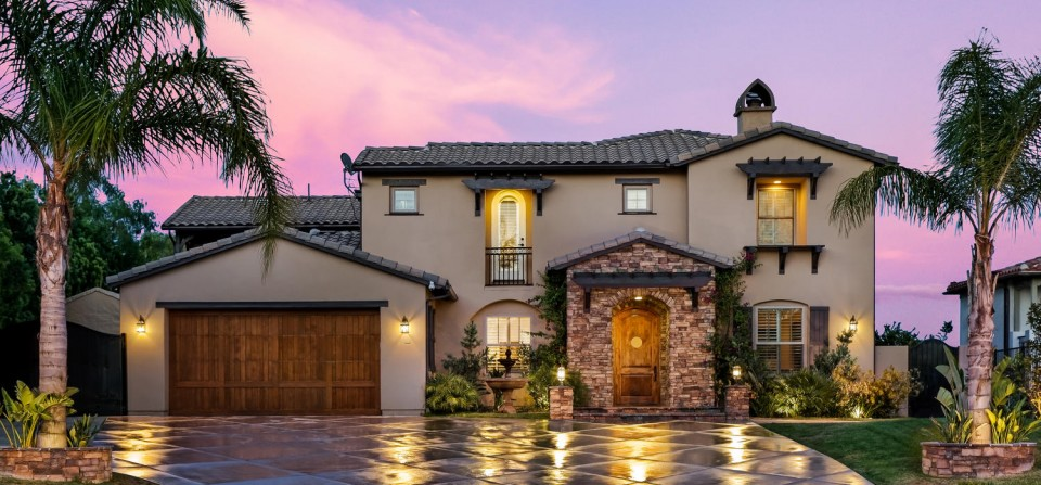 Granada Hills Estate Exterior Twilight